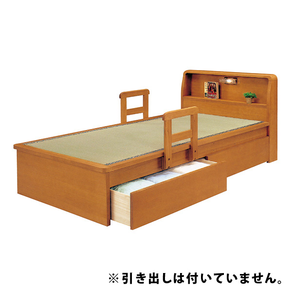 国産畳使用 畳ベッド ベット シングルベッド 手摺り2本付き 宮付き ライト付き モダン 和モダン 和風 木製 送料無料