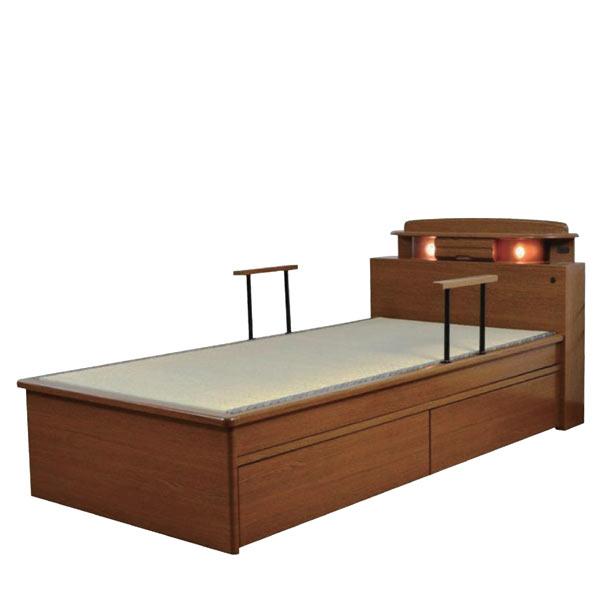 ベッド シングルベッド 畳ベッド 手摺り付き 引き出し収納付き ライト付き モダン 和モダン 和風 木製 畳国産 送料無料