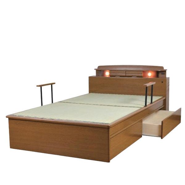 ベッド ベット セミダブルベッド 畳ベッド 手摺り付き 引き出し収納付き ライト付き モダン 和モダン 和風 木製 畳国産 送料無料