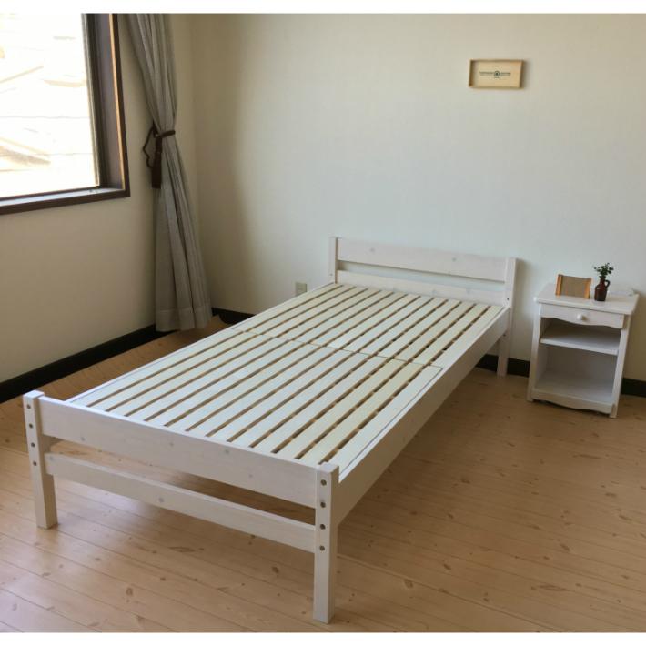 シングルベッド フレーム 木製 選べる3色 ホワイト ナチュラル ブラウン 北欧 床面3段階調整可能 ひとり暮らし ワンルーム 寝室 マットレス別売り フレームのみ すのこ 通気性 寝具 パイン材 送料無料