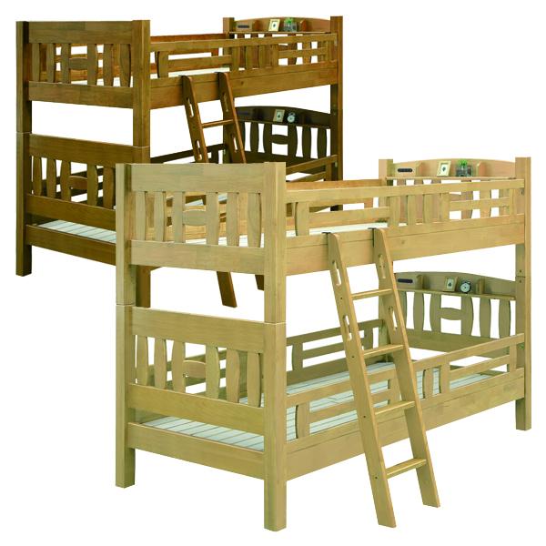二段ベッド セパレート式 上下分割 シングルベッド 幅107 高さ161 耐震構造 すのこベッド フレーム 寝室 子供部屋 はしご付 収納棚 キッズ家具 2段ベッド ナチュラル ブラウン 選べる2色 シンプル 木製 ラバーウッド 天然木 送料無料