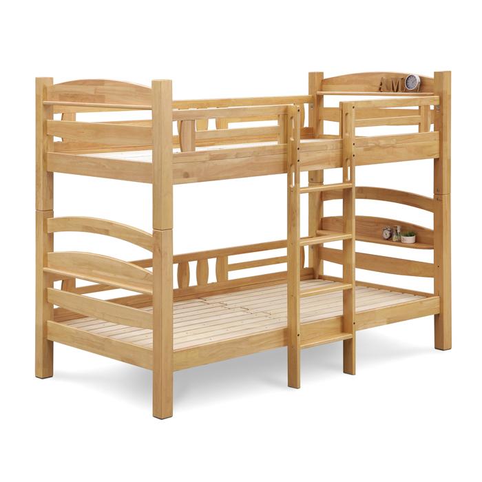 二段ベッド 宮付き シングルベッド おしゃれ セパレート式 上下段分割 子供用 子供部屋 ハシゴ 2段ベッド 棚付き 耐震構造 すのこベッド 子ども部屋 寝室 ナチュラル 木製ベッド キッズ家具 幅107cm 長さ210cm シングル ベッド