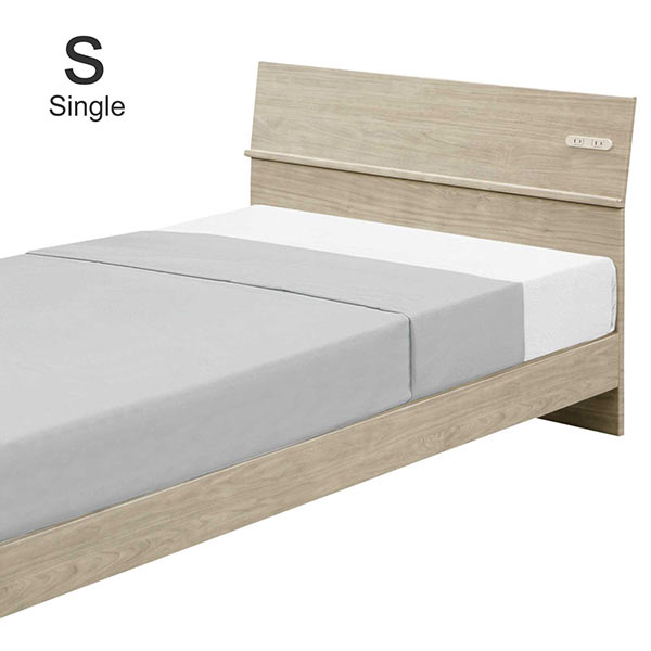 シングルベッド すのこ 北欧 木製 シングル フレーム 幅99cm 高さ74cm 寝具 脚付きベッド おしゃれ コンセント付き 寝具 寝室家具 シングル ベッド 2口コンセント すのこ ベッド フレーム単体 スマホ置き スマホスタンド 棚付き