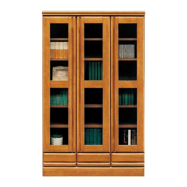 本棚 書棚 ロータイプ 幅90cm 高さ146cm 大容量 本収納 収納家具 ガラス扉 扉付 オシャレ シンプル 木製 日本製 完成品 送料無料