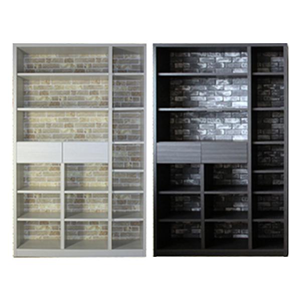 本棚 おしゃれ 幅115 高さ183 ホワイト ダークブラウン 北欧 高級感 壁板 カントリー 書棚 完成品 日本製 レンガ壁 転倒防止 移動棚 送料無料