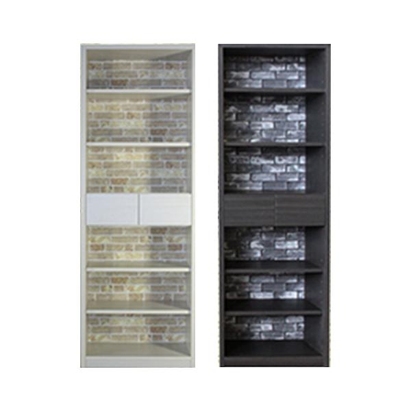 本棚 おしゃれ 幅65 高さ183 ハイタイプ ホワイト ダークブラウン 北欧 高級感 壁板 カントリー 書棚 完成品 日本製 レンガ壁 スリム 転倒防止 移動棚 送料無料