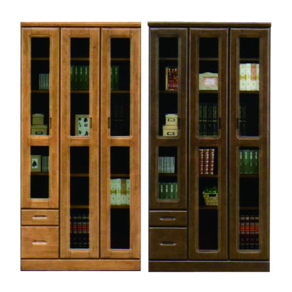本棚 扉付 木製 ラバーウッド材 幅90 高さ183 日本製 書棚 本収納 大容量収納 日本製 完成品 フリーボード リビング収納 ナチュラル色 ブラウン色 選べる2色 リビング収納 書斎 引き出し収納 スライドレール フリーボード 送料無料