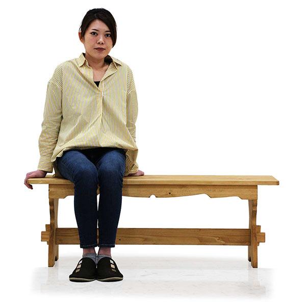 カントリー家具 ダイニングベンチ 木製 幅120 高さ42 ナチュラル 手彫り彫刻 カントリー調デザイン ベンチ オスモ社 自然オイル 楔 パイン無垢材 カントリー調ダイニングベンチ 腰掛け 木目調 送料無料