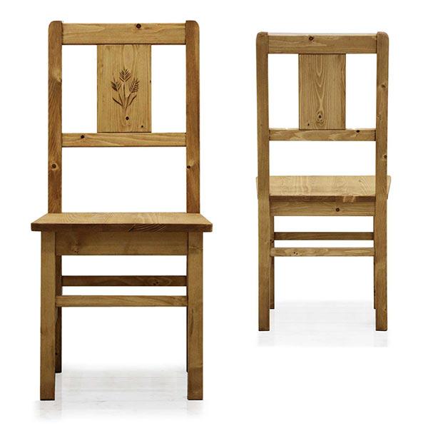 ダイニングチェア 2脚セット カントリー調 チェア 椅子 2脚 パイン無垢材 天然木 カントリー家具 カントリースタイル カントリー風 カントリーテイスト ナチュラル色 オイル仕上げ オイル塗装 おしゃれ シンプル 完成品