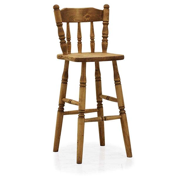 カウンターチェア 背もたれ付き 天然木 パイン材 バーチェア ろくろ脚 ハイチェア カントリー家具 カントリー調 カントリーテイスト カントリースタイル 木製 チェア イス 椅子 オイル仕上げ おしゃれ ナチュラル色