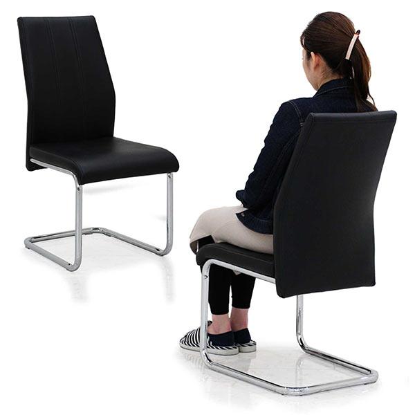 ダイニングチェア 2脚セット 高級感 ブラック色 合成皮革 カンティレバーチェア ハイバック仕様 おしゃれ ダイニングチェア 食卓椅子 モダンテイスト スチール脚部 傷防止付き 北欧風 リビング家具 完成品 送料無料
