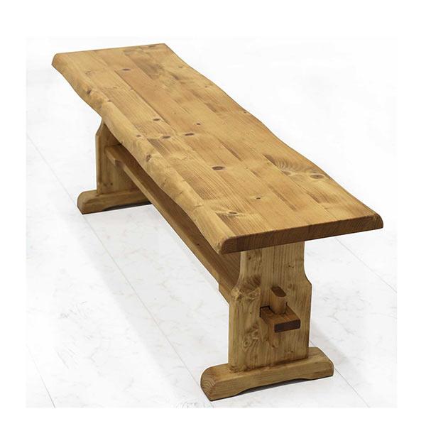 ダイニングベンチ 木製 ベンチ 和モダン 幅125 高さ43 ナチュラル色 リビング なぐり加工 パイン無垢材 腰掛け 壁付けベンチ 楔 高級感 一枚板風 おしゃれ ダイニングチェア モダンテイスト 送料無料