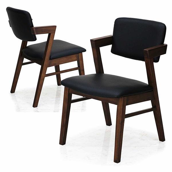椅子2脚セット ダイニングチェア 2脚 木製 ハーフアームチェア 高級感 シンプル 無垢材 フェイクレザー 椅子 チェア 食卓 合成皮革 アカシア材 2脚入り モダン 送料無料