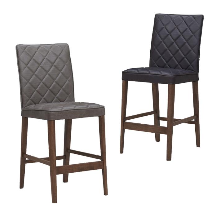 バーチェア カウンターチェア 背もたれ付き ハイチェア 完成品 チェア 椅子 バー チェアー ダークブラウン色 グレー色 ファブリック張地 布地 座り心地 硬め ヴィンテージ ビンテージ おしゃれ 木製
