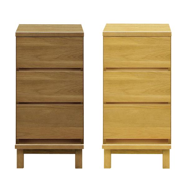 チェスト 幅38 木製 完成品 選べる2色 ナチュラル ブラウン 北欧 ナイトテーブル 省スペース 3段 収納 小物収納 モダンテイスト スリム 寝室収納 リビング家具 送料無料