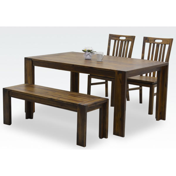 ダイニングセット ダイニングテーブルセット 4点セット 4人掛け 4人用 ベンチ付き アジアン アンティーク調 食卓セット 木製 送料無料