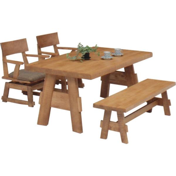 ダイニングセット ダイニングテーブルセット 4点セット 4人掛け 4人用 ベンチ付き 回転チェア 和風 モダン 食卓セット 木製 無垢 うずくり仕上げ 送料無料