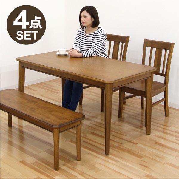 ダイニングテーブルセット ダイニングセット ベンチ 4点 4人掛け 長方形 角 140 140×80 北欧 ナチュラル モダン 木製 無垢材 送料無料