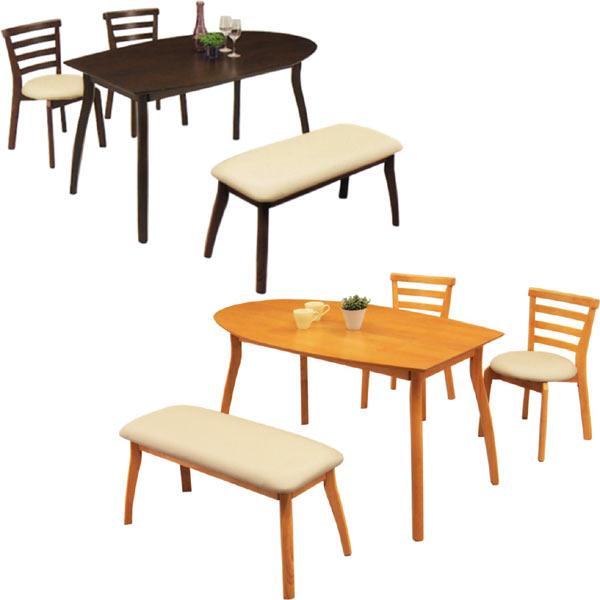 ダイニングセット ダイニングテーブルセット 4点セット 4人掛け ベンチ付き 食卓セット 半円テーブル シンプル 2色対応 木製 送料無料