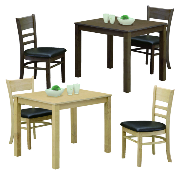 ダイニングテーブルセット 2人掛け 3点 食卓セット 幅85cm リビング家具 ダイニング チェア 2脚 シンプル 木製 合成皮革 ナチュラル ブラウン 2人用 コンパクトサイズ 省スペース 送料無料