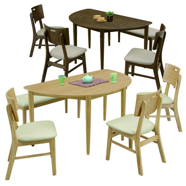 ダイニングテーブルセット おしゃれ 幅130 4人掛け 食卓セット ダイニング5点セット ナチュラル ブラウン ダイニングベンチ 変形テーブル 木製 北欧 チェア3脚 合成皮革 ダイニンチェア 半円 コンパクト 個性的 省スペース 送料無料