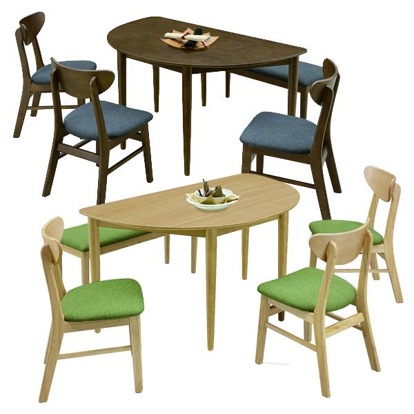 ダイニングテーブルセット 幅130 奥行80 ダイニング5点セット 食卓セット 北欧 木製 ナチュラル ブラウン シンプル 4人掛け ダイニングチェア 3脚 ダイニングベンチ おしゃれ カフェ風 半円 テーブルセット オーク突板 食卓 省スペース 送料無料