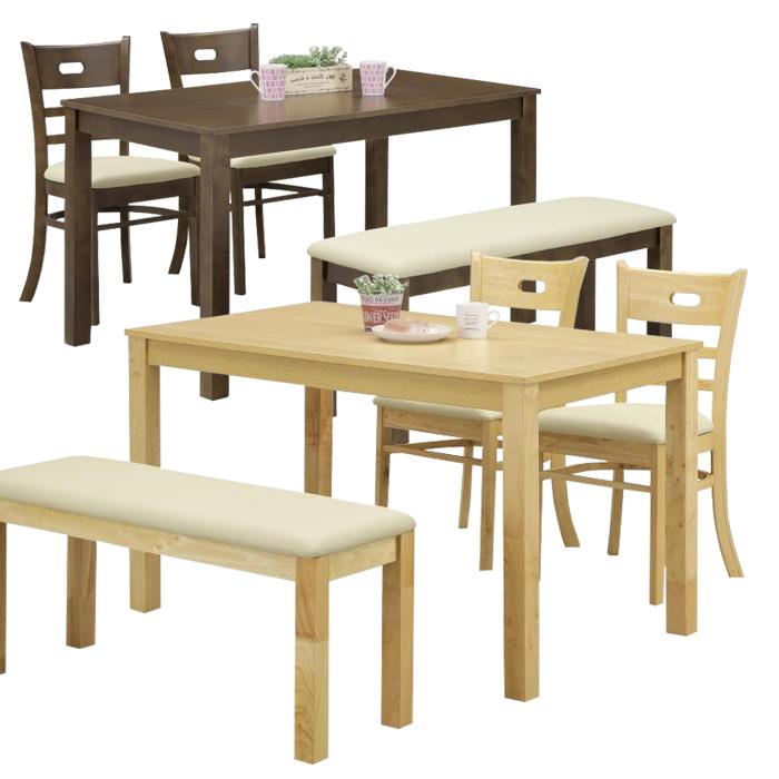 ダイニングテーブルセット 4点 食卓セット ダイニングチェア 2脚 ダイニングベンチ 木製 ナチュラル ブラウン 選べる2色 合成皮革 シンプル 木製 モダン ダイニングセット おしゃれ ダイニングベンチセット  送料無料