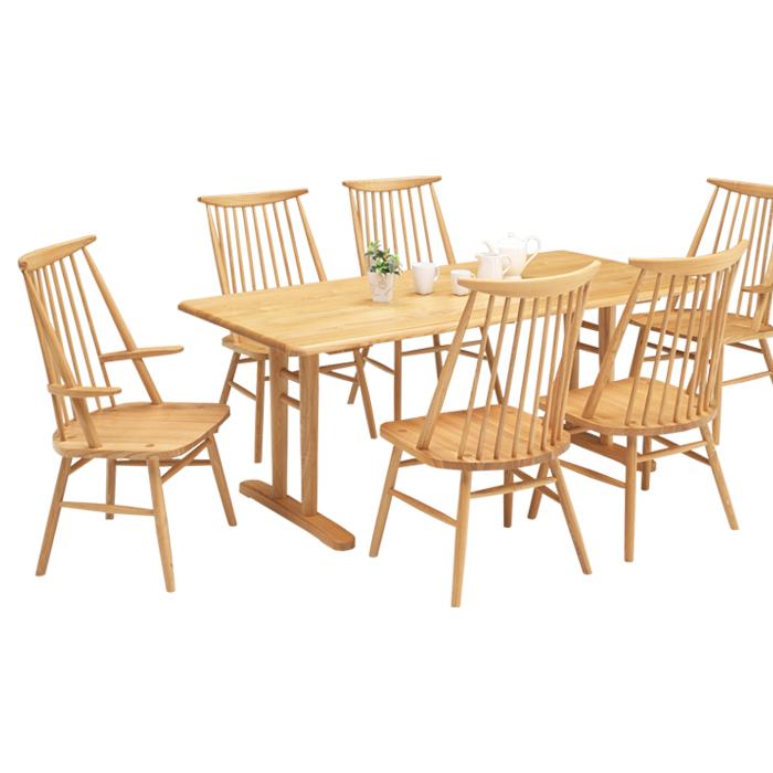 ダイニングテーブルセット おしゃれ 6人掛け ダイニング7点セット 高級感 木製 幅180cm 食卓セット 椅子6脚 縦桟 デザイナーズ 食卓 スタイリッシュ モダン 北欧 北欧家具 木製ダイニングチェア 肘掛け付き 送料無料