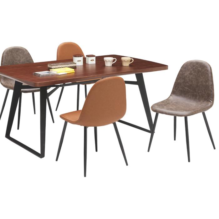 ダイニングテーブルセット 木製 高級感 選べる2色 グレー ブラウン ダイニングテーブル5点セット 椅子4脚セット ウォールナット PU素材 耐水性 シンプル モダンテイスト 食卓セット 食卓 送料無料