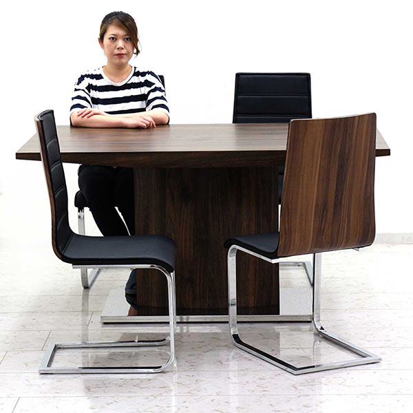 ダイニングテーブルセット 5点セット ダイニングチェア 幅150 チェア4脚 ハイバック仕様 高級感 ダイニング リビング 北欧 食卓セット 食卓 ブラウン ブラック クロムメッキ 長方形 送料無料