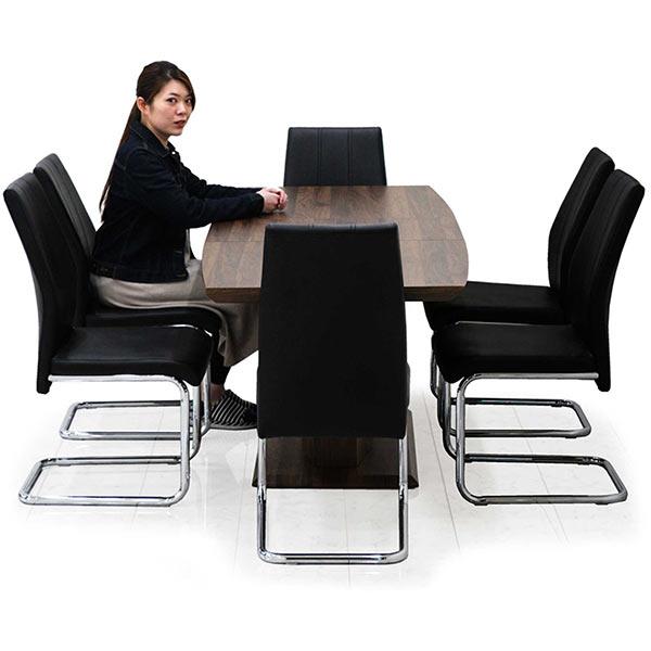 ダイニングテーブルセット 伸長式 チェア6脚セット 木目調ブラウン色 幅140 180 おしゃれ 高級感 折りたたみ式 スライドレール カンティレバーチェア 食卓セット モダンテイスト 伸長式テーブル 新居 リビング家具 送料無料