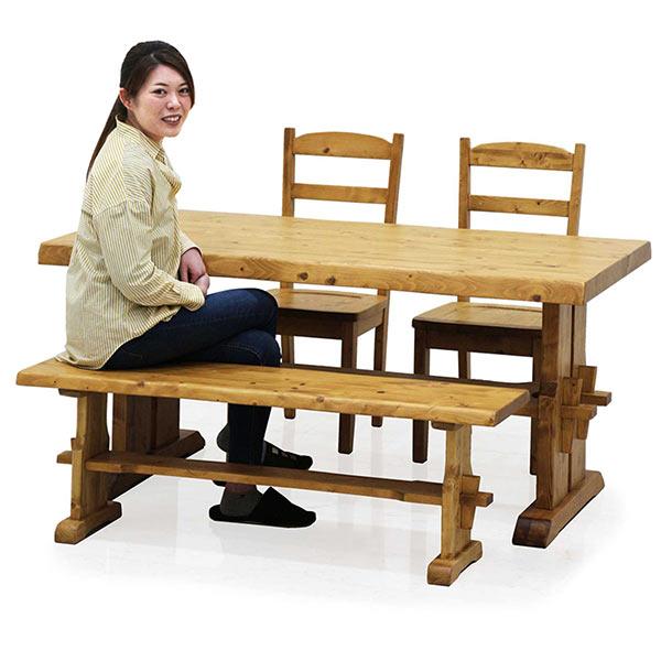ダイニングテーブルセット 木製 4点セット 幅150 チェア2脚セット ダイニングベンチ ダイニングチェア 木製 パイン無垢材 食卓セット 高級感 楔 ナグリ加工 リビング家具 天然木 送料無料