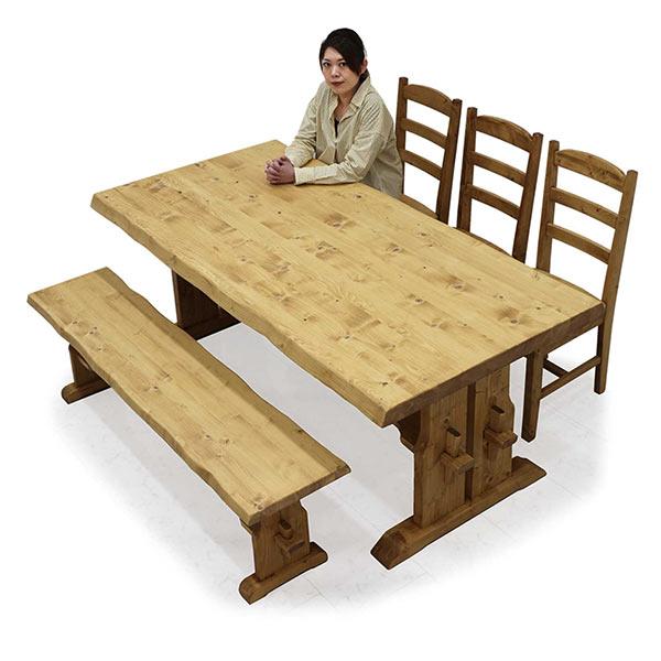 ダイニングテーブルセット 木製 高級感 幅180 ダイニング5点セット 楔 ナグリ加工 ベンチ 和モダン おしゃれ ダイニングチェア 3脚セット ダイニングベンチ 食卓セット 5人掛け 6人掛け 北欧風 シンプルテイスト 一枚板風 送料無料