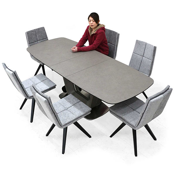 ダイニングテーブルセット 6人掛け セラミック セラミックテーブル 7点セット 180cm 220cm 伸長式テーブル 伸縮ダイニングテーブル 天板拡張 伸縮 エクステンションテーブル 耐熱 防水 椅子 6脚 座り心地 硬め ファブリック おしゃれ