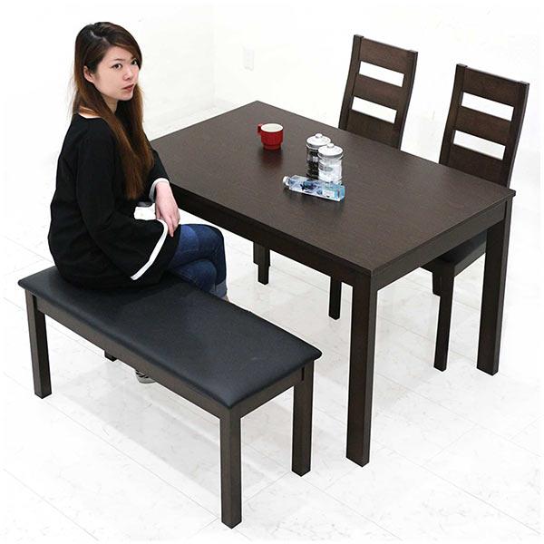 ダイニングテーブルセット 4点セット 天然木 ダイニングチェア 幅120 チェア2脚 ハイバック仕様 高級感 ダイニング リビング ダイニングベンチ 北欧 食卓セット 食卓 ダークブラウン ピーチ材 長方形 送料無料