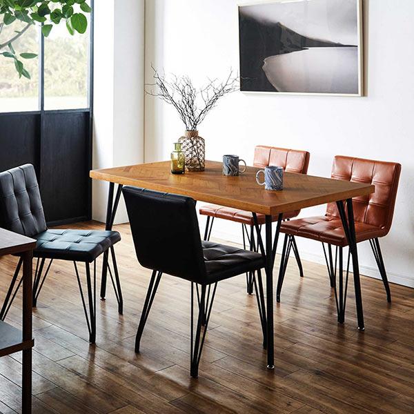 ダイニングテーブルセット 4人用 幅120テーブル スチール脚 ダイニングテーブル5点セット ブラック ブラウン 4人掛け 食卓 食卓セット ダイニングセット カフェ風 リビング 合成皮革 アンティーク風 カフェテイスト ヘリンボーン