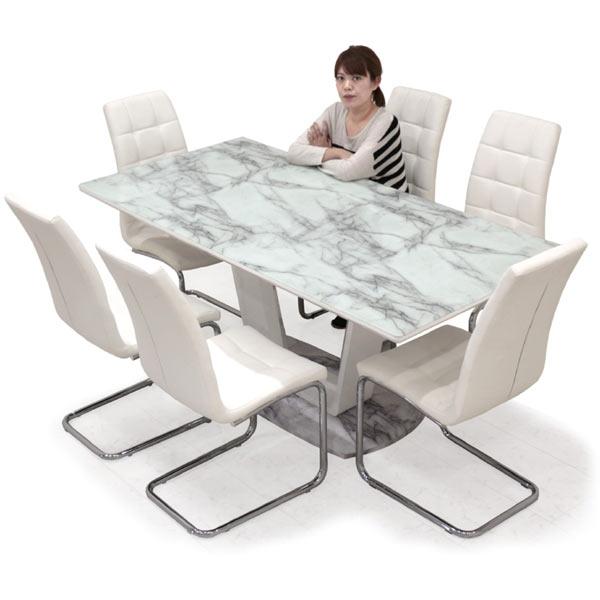 ダイニングテーブルセット 6人掛け 大理石風 ダイニングテーブル 大理石柄 インテリア おしゃれ 大理石調ダイニングテーブルセッmn80wvN