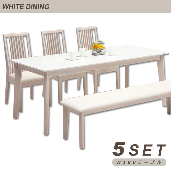 ダイニングテーブルセット ダイニングセット ダイニングテーブル ベンチ 6人掛け 5点セット 180x80 180幅 長方形 白 鏡面 ホワイト 白家具 光沢 艶 シンプル 北欧スタイル モダン スタイリッシュ ハイバック 木製 食卓用 家具送料無料
