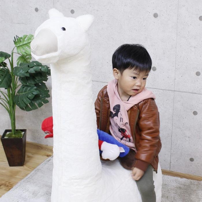 アルパカ ぬいぐるみ 可愛い 乗り物 置き物 おもちゃ 子供 幅50 高さ127 スツール アジャスター付き 白色 子供部屋 動物 送料無料