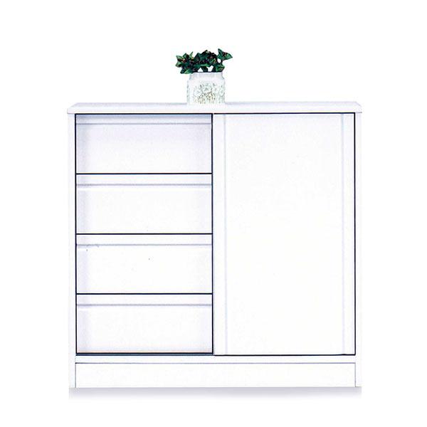 キッチンカウンター 90 ホワイト色 白色 清潔感 日本製 幅90cm 奥行28cm 引き出し収納 キッチン収納 台所 光沢 エナメル塗装 カウンター キッチン 省スペース 薄型タイプ 間仕切り おしゃれ 北欧 シンプル