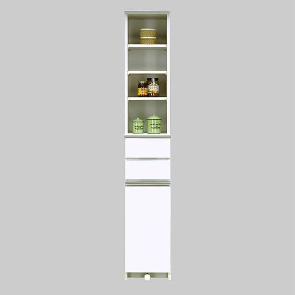 ゴミ箱 おしゃれ キッチン収納 幅32cm 高さ180cm 食器棚 スリム 隙間収納 ペール 30リットル 台所 キャスター付き ホワイト 清潔感 ごみ箱 引き出し収納 完成品 国産