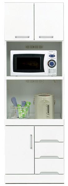 レンジ台 食器棚 レンジボード キッチンボード 幅60cm 高さ180cm モイス付き ハイタイプ キッチン収納 大容量 白 ホワイト 鏡面仕上げ シンプル 北欧 おしゃれ 木製 日本製 完成品 送料無料 【クリスタルシリーズ】