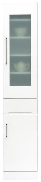 食器棚 幅35cm 高さ180cm ハイタイプ すきま収納 隙間収納 スリム型 ガラス扉 キッチン収納 白 ホワイト 鏡面仕上げ シンプル 北欧 おしゃれ 木製 日本製 完成品 送料無料 【クリスタルシリーズ】