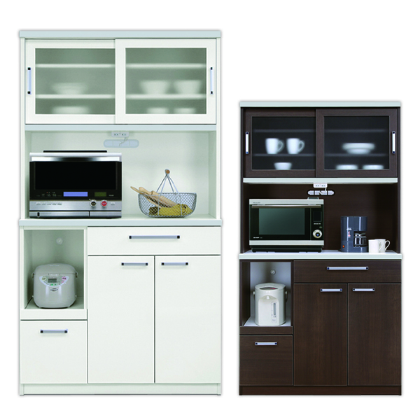食器棚 大容量収納 幅105 ホワイト ブラウン 清潔感 レンジボード 食器棚 国産 コンセント おしゃれ 高級感 ハイタイプ 完成品 間仕切り 背面化粧仕上げ オープンタイプ キッチン 大型家電対応 送料無料