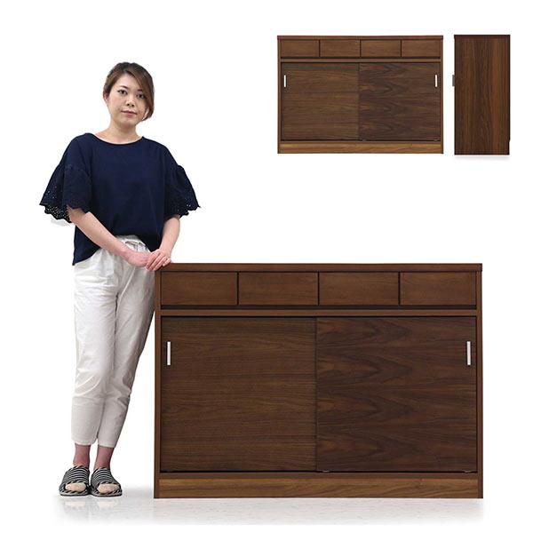 キッチンカウンター 完成品 幅120 引き出し 引き戸 間仕切り 北欧風 木製 シンプル ウォールナット キッチン収納 省スペース 送料無料