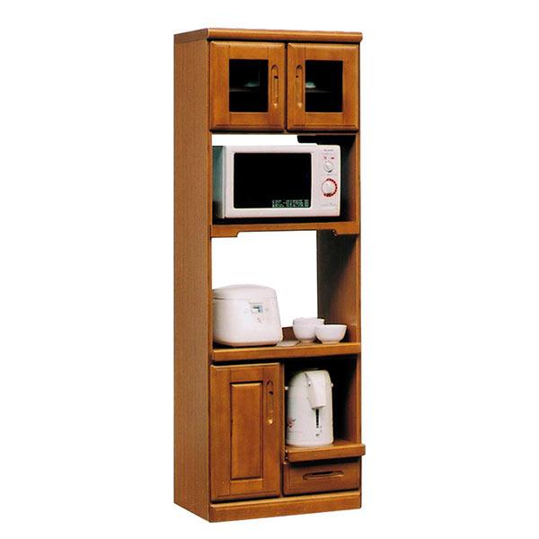 キッチン収納 レンジ台 ブラウン色 幅60cm 高さ180cm レンジボード 国産 家電収納 食器棚 開き戸収納 引き出し収納 キッチンボード 日本製 完成品 キッチン 収納 台所 スリム 木製 茶色