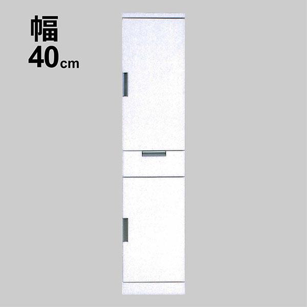 すきま収納 40cm スリムストッカー 完成品 隙間収納 40センチ 国産品 扉収納 白色 清潔感 日本製 食器棚 台所収納 スリム型 ハイタイプ 日本製 扉収納 可動棚 隙間 収納