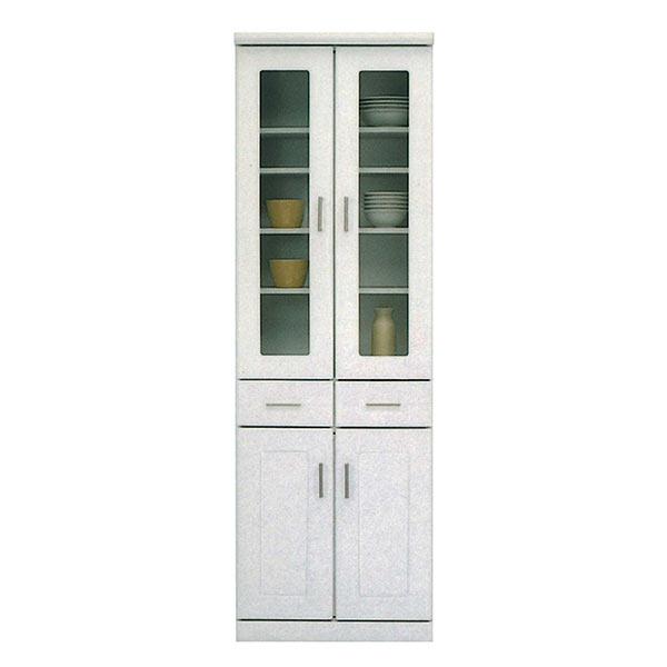 食器棚 完成品 60ダイニングボード ホワイト 白色 清潔感 キッチンボード 食器収納 キッチン 収納 台所収納 小物収納 観音開き おしゃれ スリム 幅60cm 高さ180cm 省スペース ひとり暮らし コンパクト 多目的収納 リビング収納