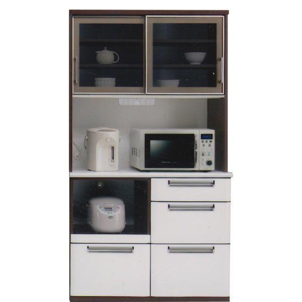 食器棚 レンジ台 レンジボード キッチンボード 幅100cm 100cm 引き戸 キッチン収納 大容量 ハイタイプ シンプル ホワイト ブラウン 木製 日本製 完成品 送料無料