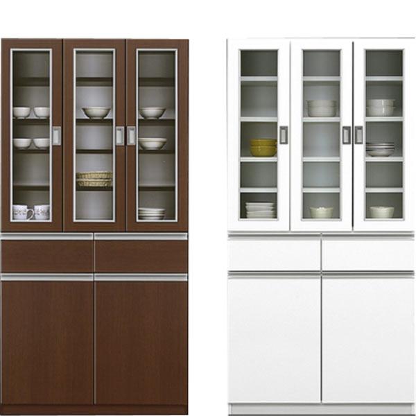 食器棚 キッチンボード 幅90cm ハイタイプ キッチン収納 食器収納 収納家具 開き戸 シンプル モダン 北欧 鏡面 ホワイト 木製 完成品 送料無料